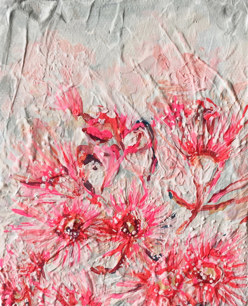 'Gum Blossoms' - abstract Australian Floral painting by Chloé Newby